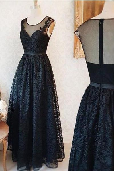Cap Sleeves Floor Length Black Lace Dress with Sheer Back