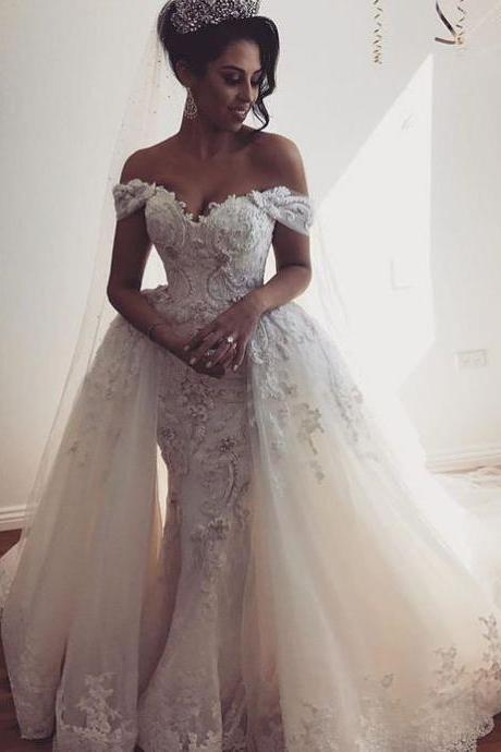 Off the Shoulder Wedding Dress with Overlay Skirt