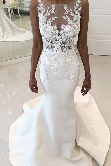Illusion Bodice Trumpet Wedding Dress