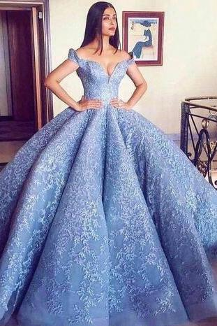 Off the Shoulder Blue Dress with Corset Back