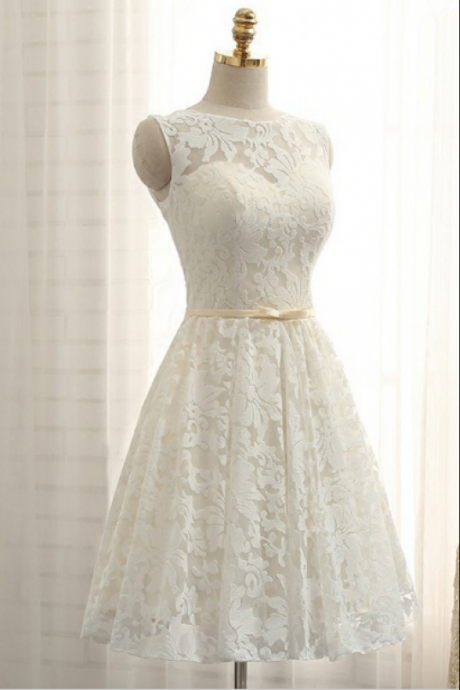 Jewel Neck Short Lace Wedding Dress with Sash