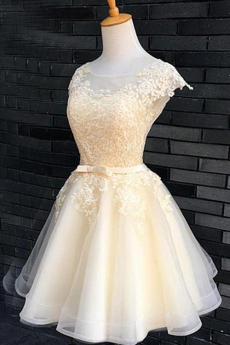Cap Sleeves Light Champagne Short Wedding Dress