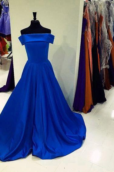 Strapless Royal Blue Long Evening Dress Prom Dress