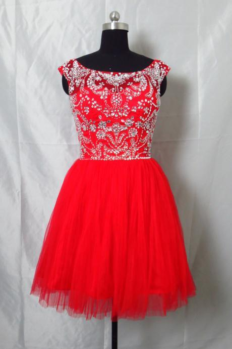 Beaded Red Short Homecoming Party Dresses Knee Length Graduation Dress