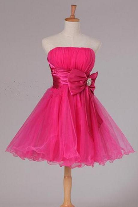 Strapless Pleated Short Homecoming Dress Party Dress with Bow Sash