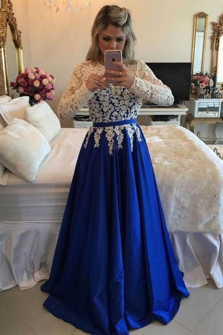 Long Sleeves Royal Blue Evening Gown Long Formal Occasion Dress