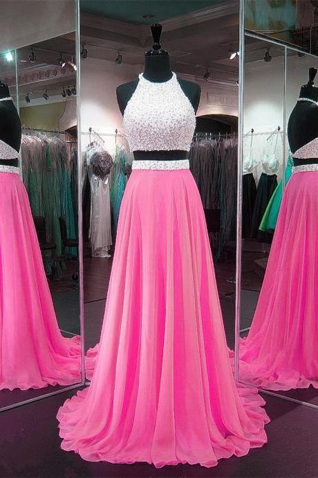 Two Pieces Long Chiffon Prom Dress