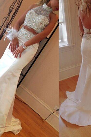 White Two Pieces Prom Dress
