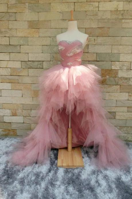 Sweetheart Tiered High Low Pageant Dress