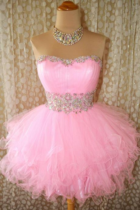 Sweetheart Baby Pink Homecoming Dress