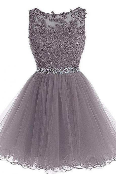 Grey Short Homecoming Dress
