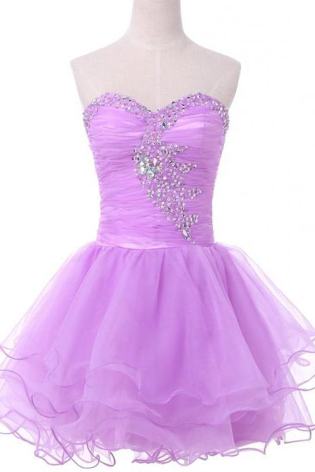 Sweetheart Lavender Short Homecoming Dress with Tiered Skirt