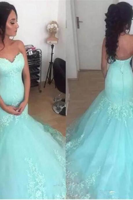 Sweetheart Light Blue Mermaid Wedding Dress