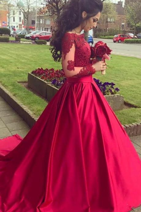 Hot Red Ball Gown Pageant Dress with Long Sleeves