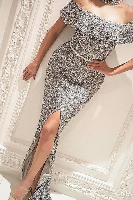 Off the Shoulder Sequin Papeant Dress Evening Gown with Slit