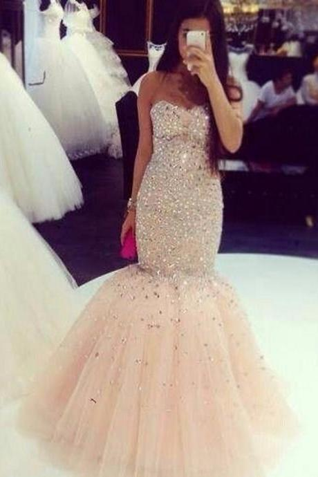 Sleeveless Light Champagne Mermaid Prom Dress with Crystals
