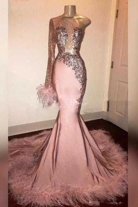 One Shoulder Prom Dress with Feather