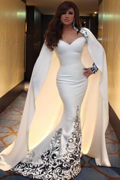 Long Sleeves Ivory Sheath Evening Gown Pageanr Dress with Cape