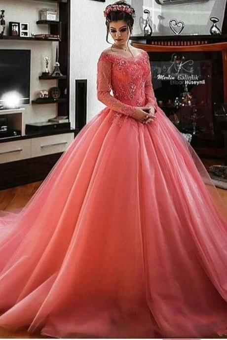 Sheer Jewel Neck Long Sleeves Ball Gown Pageant Dress Evening Gown