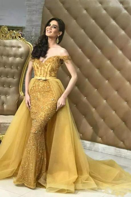 Off the Shoulder Gold Evening Dress with Attachable Skirt