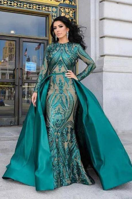 Long Sleeves Prom Dress with Overlay Skirt