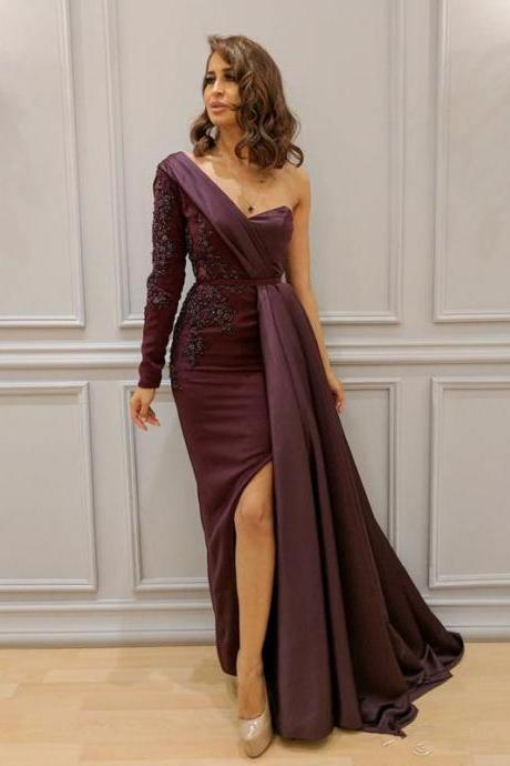 One Shoulder Pageant Dress Evening Gown