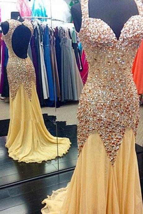 Backless Sparkle Prom Dress with Brush Train