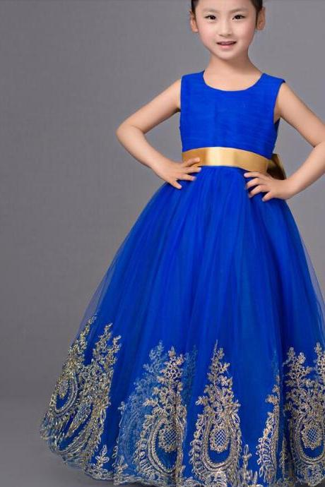 Royal Blue Flower Girl Dress Pageant with Gold Appliques