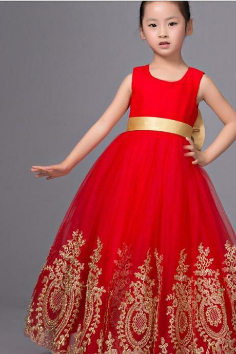Red Flower Girl Dress Pageant with Gold Appliques
