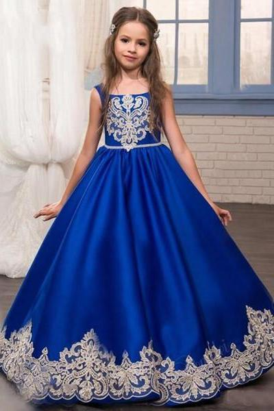 Royal Blue Satin Flower Girl Dress Pageant Dress with Ivory Lace Trim