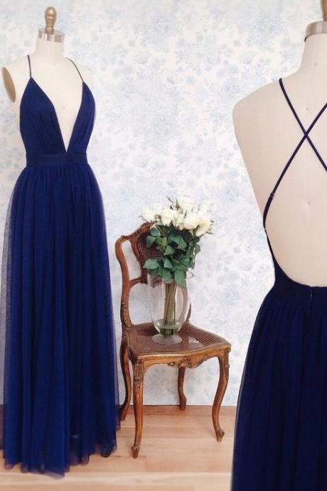 Plunging Neck Floor Length Pageant Dress Backless Prom Dress