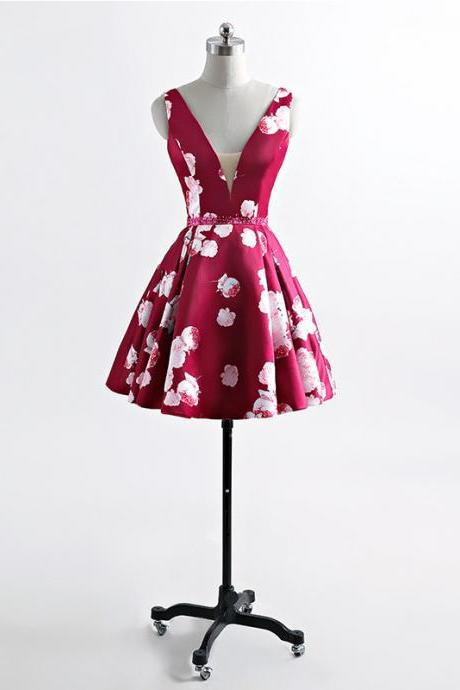 Short Floral Hoco Party Dress