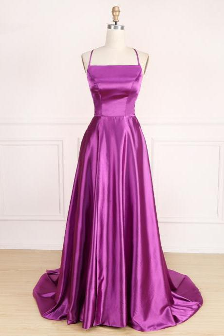 Backless Purple Prom Dress with Tie String Back