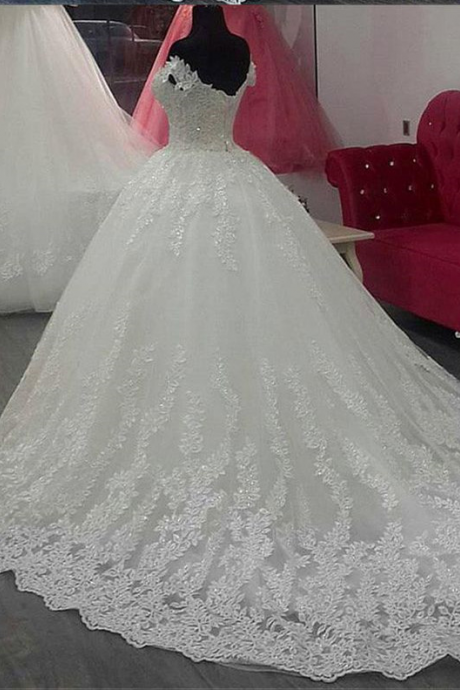 Off the Shoulder Wedding Dresses Applique Lace Bridal Gown