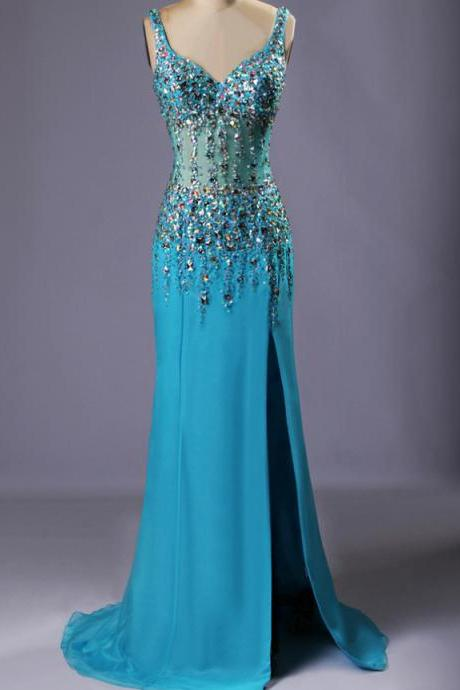 Crystaled Sheer Bodice Sparkle Prom Dress