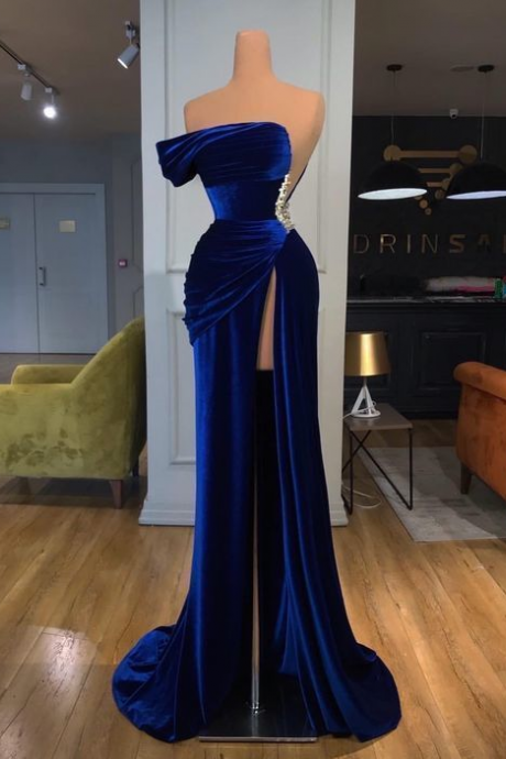 One Shoulder Royal Blue Velvet Evening Dress with Slit