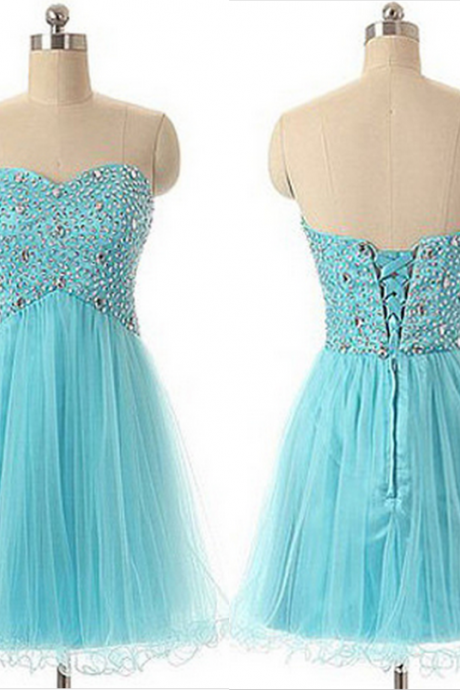 Turquoise Sweetheart Short Hoco Party Dress Homecoming