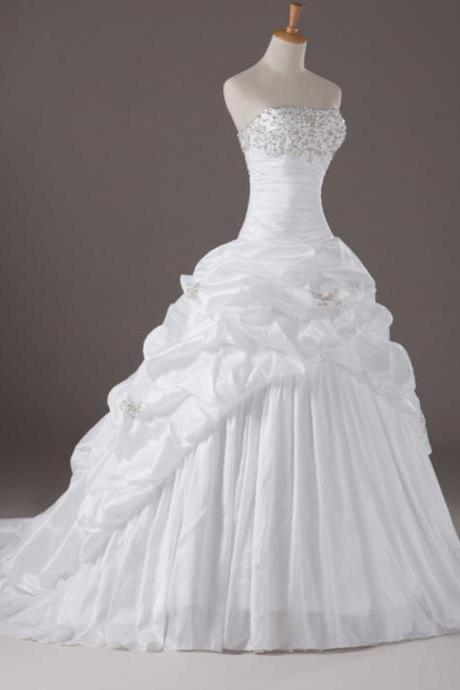Strapless Ruched Ball Gown Wedding Dress