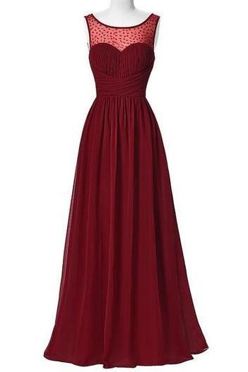 Sheer Sweetheart Long Burgundy Evening Gown Pageant Dress