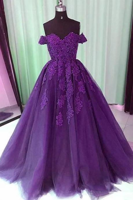 Off the Shoulder Purple Evening Gown Pageant Dress