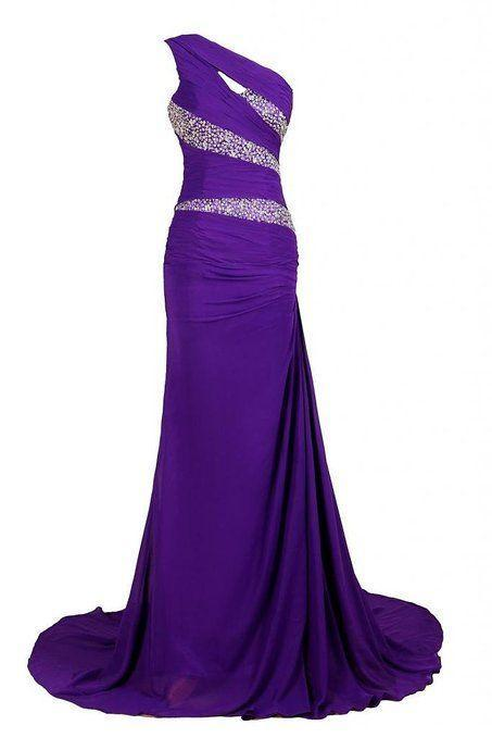 One Shoulder Long Purple Eveniing Gowns Pageant Dress
