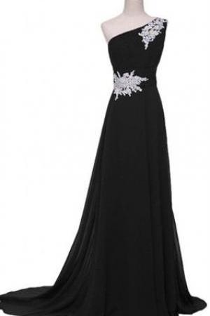 One Shoulder Black Long Evening Gowns Pageant Dress with Appliques