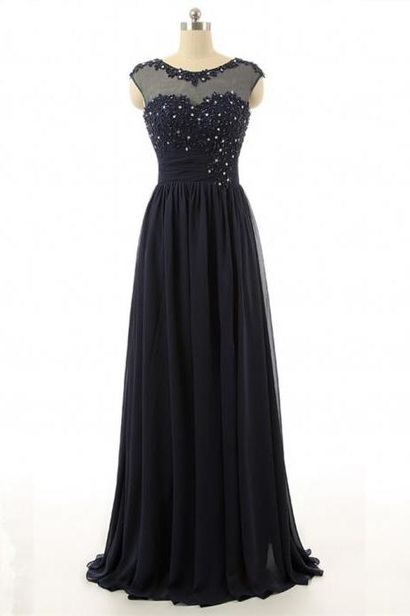 Black Floor Length Chiffon Sheath Prom Dress Showcasing Lace Appliquéd Beaded Adorned Sweetheart Illusion Bodice with Bateau Neckline, Cap Sleeves and Keyhole Back