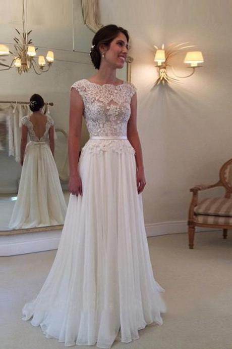 Lace Bateau Neck Cap Sleeves Floor Length Chiffon A-Line Wedding Dress Featuring Plunge V Back