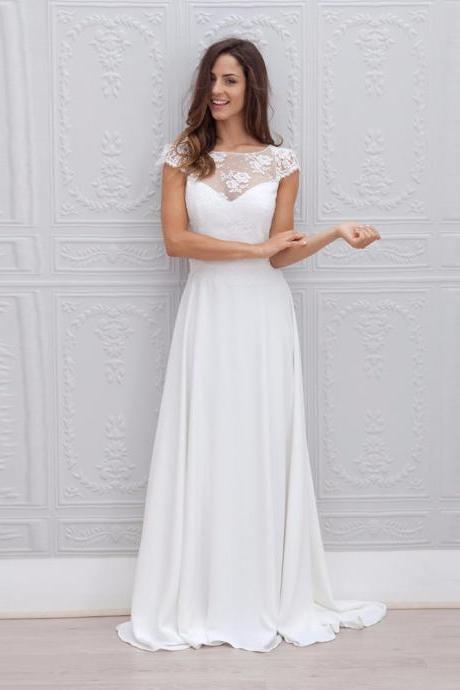 Lace over Chiffon Scoop Neckline Floor Length Wedding Dress Open Back Bridal Gown