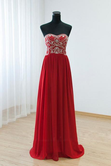 Women's Strapless Red Floor Length Fully Beaded Bodice and Pleated Skirt Long Party Dress Prom Gown