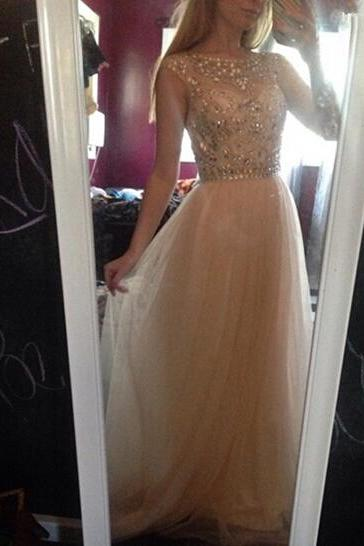 Cap Sleeves V Back 2016 Champagne Floor Length Prom Dress with Beaded Bodice