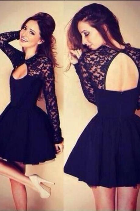 Long Lace Sleeves Knee Length Short Little Black Dress with Keyhole Back