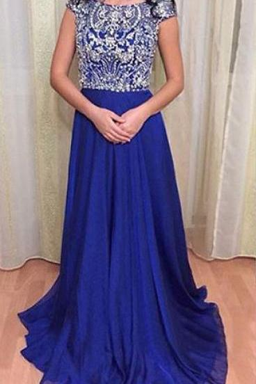 Royal Blue Chiffon Cap Sleeves Floor Length Open Back Paty Dress Prom Gown with Fully Beaded Bodice