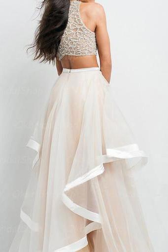 Fully Beaded Top Bodice and Tulle Skirt with Horsehair Trim 2 Pieces Dress